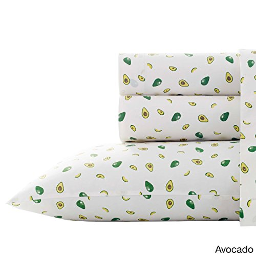 PH 4 Piece Full White Avocado Printed Bed Sheet Set, Coastal & Patterned Style, Cotton & Percale Material, Animal Print Pattern, Deep Pockets, Fully Elasticized Fitted, Machine Wash- Avocado Print