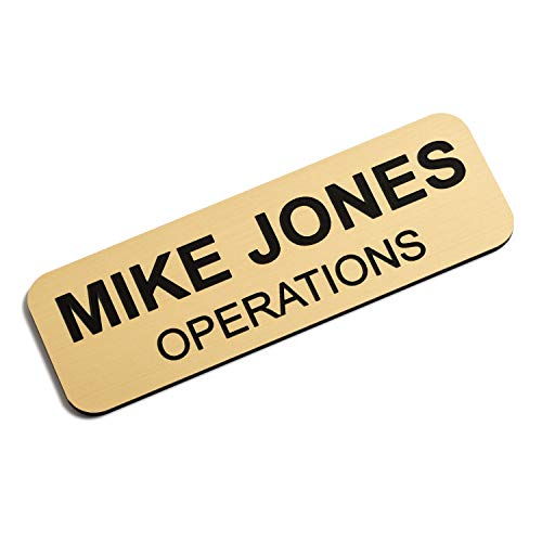Custom Engraved Name Tag Badges  Personalized Identification with Pin or Magnetic Backing, 1 Inch x 3 Inches, European Gold/Black