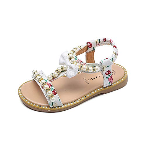 - Baby Girl Bohemian Sandals Flower Bowknot Flat Thong Sandals Pearl Crystal Princess Shoes Slip on Roman Shoes for 0-6 Year-Old