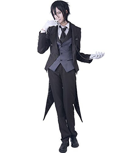 Costumes Black Butler (Miccostumes Men's Black Butler Sebastian Michaelis Cosplay Costume Large Black)