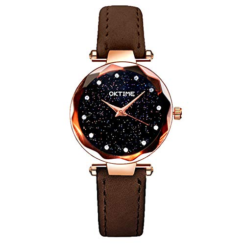 Hot Sale! Fashion Wristwatch,Starry Sky Printed Dial Leather Band Analog Alloy Quartz Jewelry Watches Gift (Brown)