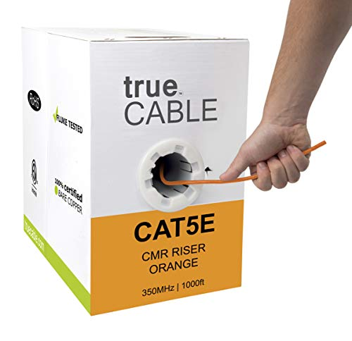 Cat5e Riser (CMR), 1000ft, Orange, 24AWG 4 Pair Solid Bare Copper, 350MHz, ETL Listed, Unshielded Twisted Pair (UTP), Bulk Ethernet Cable, trueCABLE
