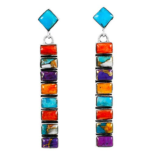 Turquoise Earrings 925 Sterling Silver & Genuine Turquoise (Choose Color) (Multi)