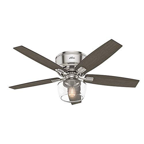 Hunter Indoor Low Profile Ceiling Fan with light and remote control – Bennett 52 inch, Brushed Nickel, 53394