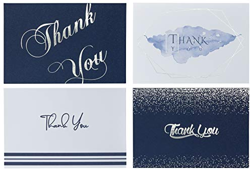Banana Basics Thank You Cards Bulk Set w/Envelopes (72-Pack) Blank Note Cards 4 x 6 | Navy Blue With Silver Foil Stamping, | Perfect For Wedding, Bridal Shower, Baby Shower, Business, Graduation,