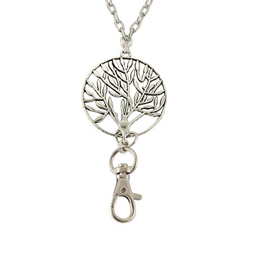 Brenda Elaine Jewelry | Real Silver Plate | Women's Fashion Lanyard Necklace for ID Badge Holders | 32 Inch Textured Silver Chain with Silver Tree of Life Pendant & No ()
