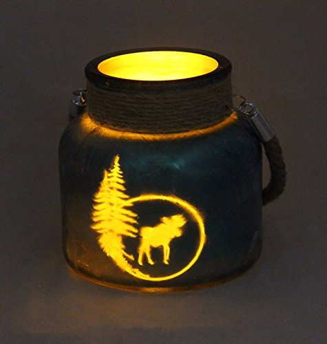LED etched Glass Moose Candle, - Glass Etched Tabletops