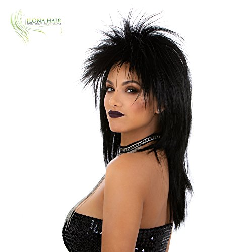 Heavy Metal Rocker Wig for Man and Woman Kiss Hard Rock Hair Black Spiky Wig Adjustable Size -
