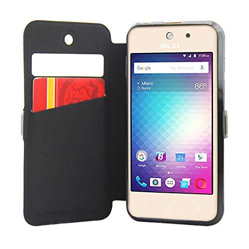 BLU VIVO 5 Mini Case LIQING Cell Phone Protective Cover Flip Cell Phone Case View Window BLU VIVO Mini 5 Moblie Case ID/Bank Card Slot (Best Blu Windows)