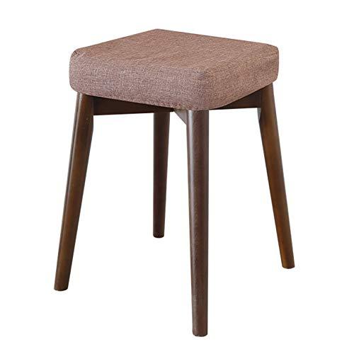 OLI Stool, Anti-Slip Wood Stacking Stool, Padded Cushion Vintage, Wood Support Upholstered Footstool,Makeup Vanity Stool, Modern Luxury Upholstered Footstool,Stool Wooden 4Legs,C,Wood ()