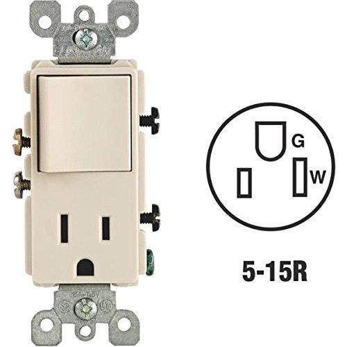 Single Rocker Combo (Leviton Rocker Switch Single Pole 15 Amp 120 V Light Almond)