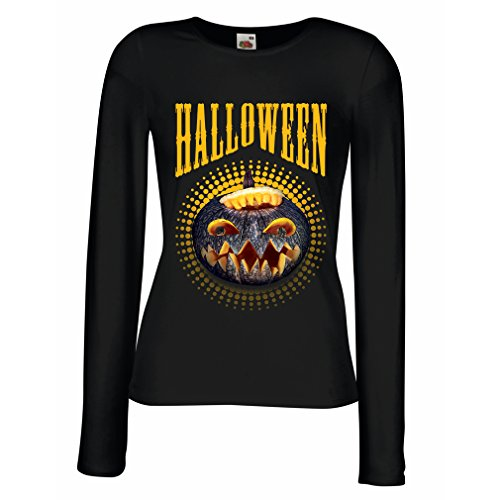 Clever Halloween Costume Ideas For Guys (lepni.me T Shirt Women Halloween Pumpkin - Clever Party Costume Ideas 2017 (Medium Black Multi Color))