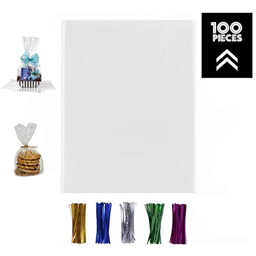 100 Pcs 12x16 Clear Flat Cello/Cellophane Treat Bags for Gift Wrapping, Bakery, Cookie, Candies, Dessert, Party Favors Packaging, with Color Twist Ties!