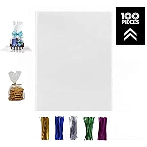 100 Pcs 12x16 Clear Flat Cello/Cellophane Treat Bags for Gift Wrapping, Bakery, Cookie, Candies, Dessert, Party Favors Packaging, with Color Twist ...