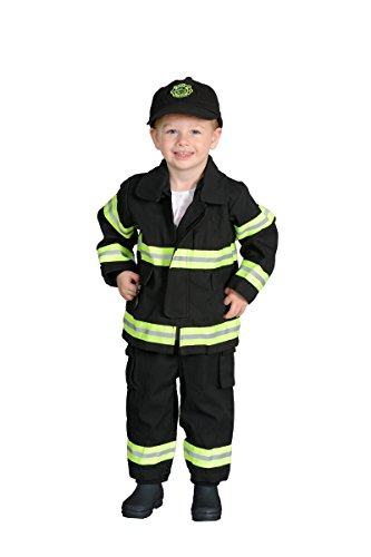 18m Junior Firefighter Suit (Aeromax Jr. Fire Fighter Bunker Gear, Black, Size 18 Month)