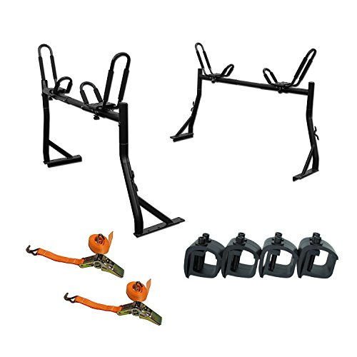 AA Products Model X35 Truck Rack with 8 Non-Drilling C-Clamps and 2 Sets Kayak J-Racks with Ratchet Lashing Straps