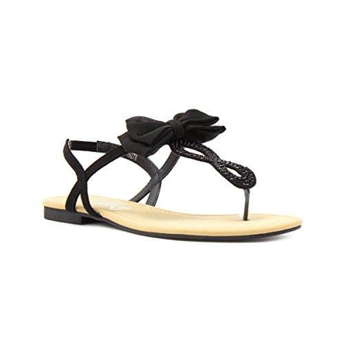 Lilley Womens Black Bow Flat Toe Post Sandal - Size 7 UK / 9 US - - Sandal Toe Post Flat