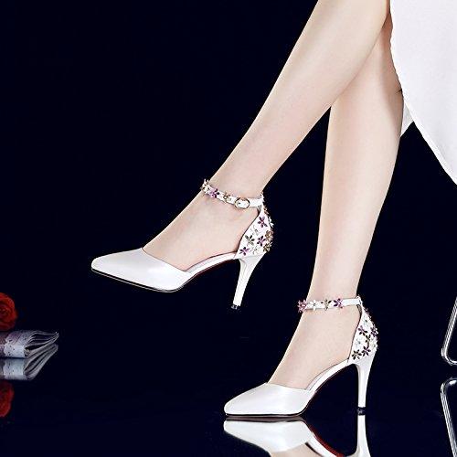 De Verano Tacón Y Sandalias Alto Flores Consejos Zapatos Huecos Las White Mujeres Vivioo Baessou 50HgqIIw