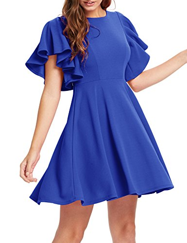 ROMWE Women's Stretchy A Line Swing Flared Skater Cocktail Party Dress Royal Blue L