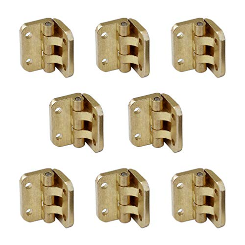 Tiazza 8Pcs Mini Antique Brass Hinges Furniture Cabinet Drawer Door Gift Box Jewelry Box 90 Degrees Small Hinges - Hinge Gold Box