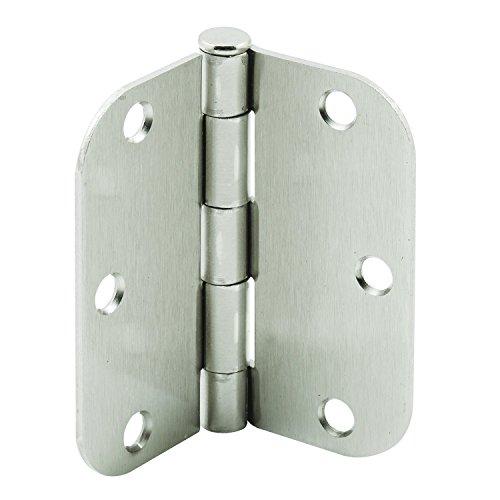Hinge Satin Accessories Chrome (Prime-Line MP10064 Door Hinge, 3-1/2 in. x 5/8 in. Radius, Steel, US26D Satin Chrome, Pack of 1, 3-1/2