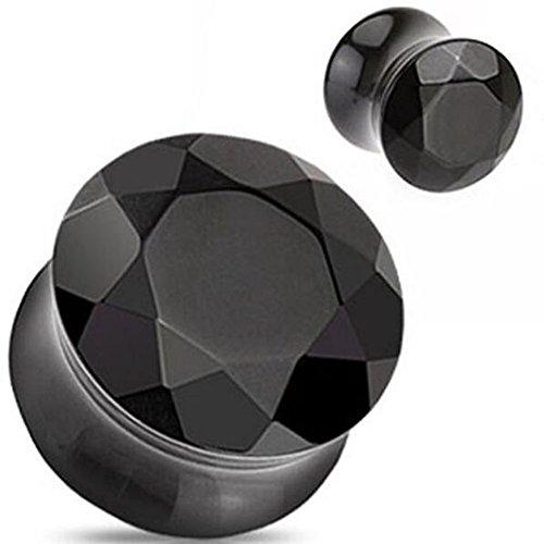 "Precious Stone Semi Agate (Pair (2) of 12mm Black Agate Semi Precious Stone Faceted Gem Cut Double Flare Ear Plugs (5/8""=16mm))"