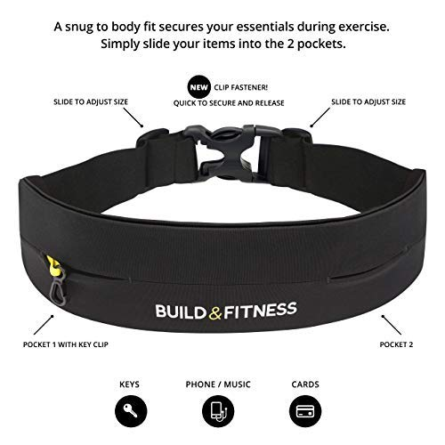 Running Belt, Fully Adjustable Fastener, Fitness Waist Belt, Key Clip. Fits iPhone 6,7,8 Plus, X. Unisex. Suitable for Gym Workouts, Exercise, Cycling, Walking, Jogging, Sport, Travel, Outdoors by Build & Fitness (Image #2)