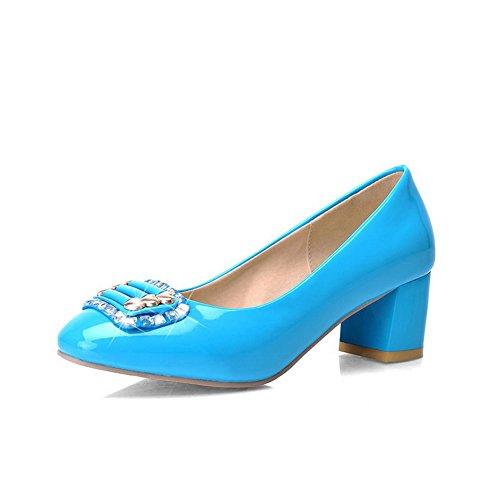 AllhqFashion Mujeres Puntera Cuadrada Cerrada Tacón ancho Sólido De salón con Diamante Azul
