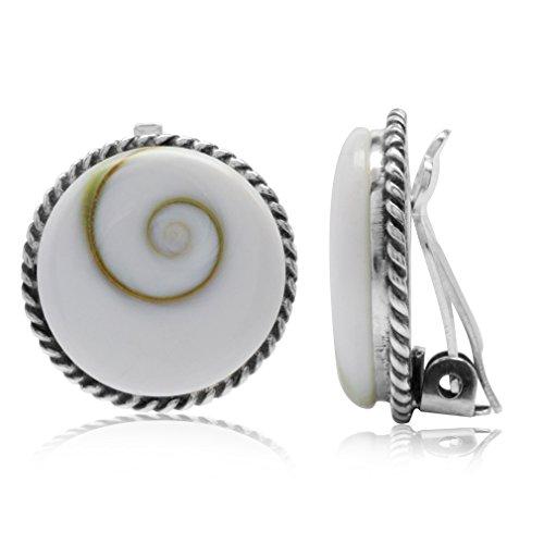 Silvershake Shiva Shell 925 Sterling Silver Round Disc Shape Clip on Earrings