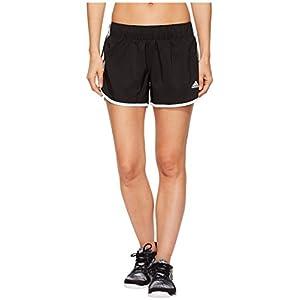 """adidas Women's Running M10 Shorts 4"""" Inseam, Black/White, Medium"""