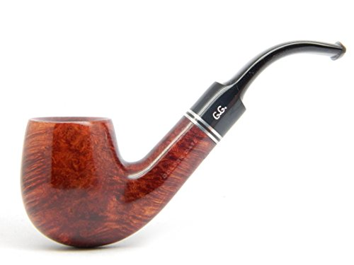WatsonG.G. – BRIAR Tobacco Smoking Pipe – HOLMES – Hand Made, Full Bent (9mm filter) + Branded Pouch (special edition for Watson) (Mahogany)