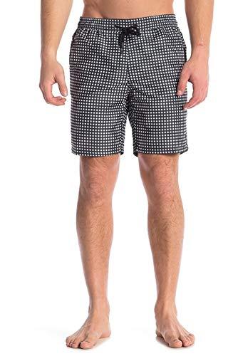 Beach Bros Men's Swim Trunks - Quick Dry Bathing Suit w/Elastic Waistband & Pockets - Black Gingham, Small (Waist: 29