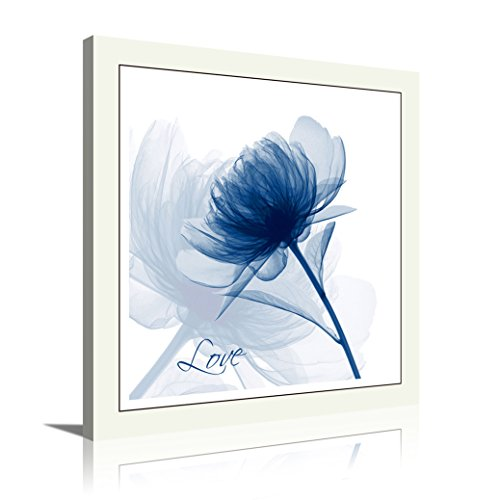 HLJ Arts 4 Panels Crystal Theme Giclee Flickering Blue Flowers Printed Paintings on Canvas for Wall Decor 12x12inches 4pcs/set (Blue-Love) (Decor Crystal Flower Wall)