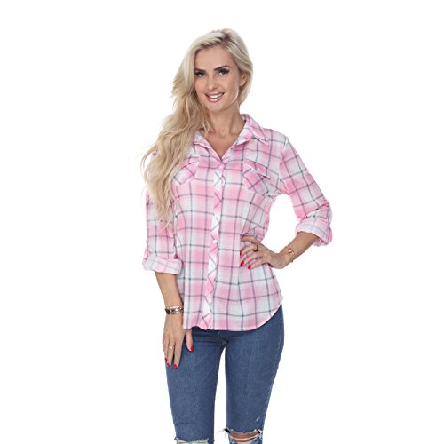 - White Mark Women's Roll Up Long Sleeve Plaid Button Down Casual Shirt in Pink & White - Small