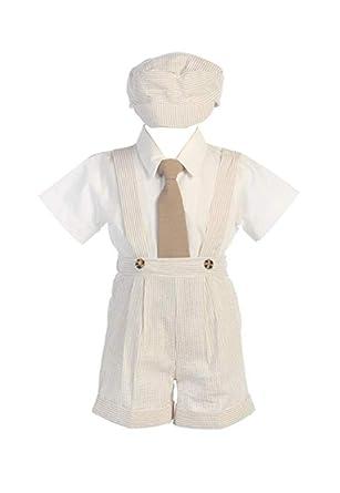 5d084ee4086 Amazon.com  DapperLads Lito Little Boys  Khaki Seersucker 4 Pc Suspender  Shorts  Clothing