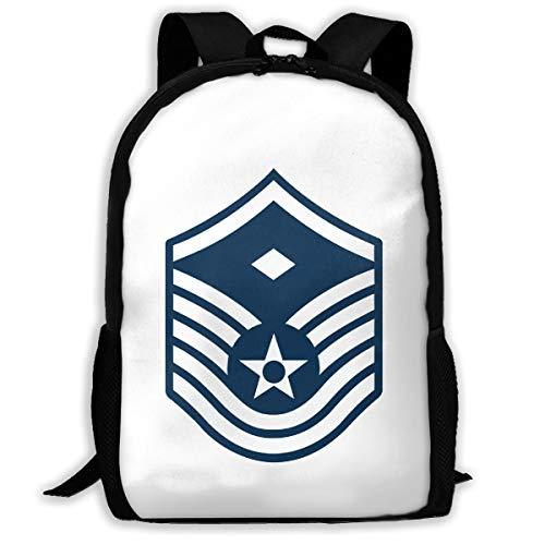 Air Force Master Sergeant 1st SGT Diamond Rank Funny School Bookbag Novelty Outdoor Travel Rucksack College Backpack