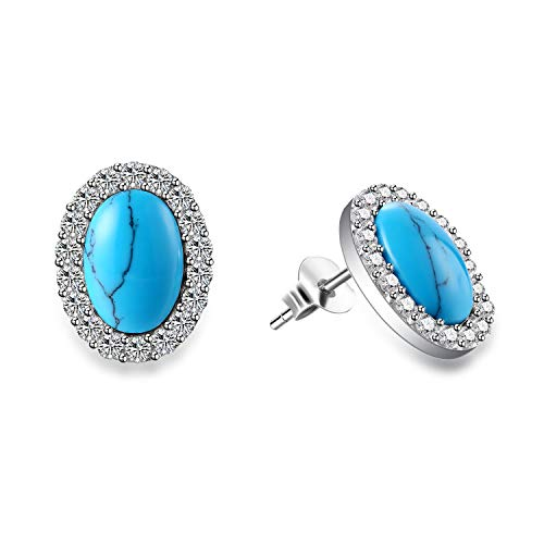 Agvana Sterling Silver Created Oval Created Turquoise Small Stud Earrings Halo Cubic Zirconia Fine Elegant Jewelry Gifts for Mom Women Girls
