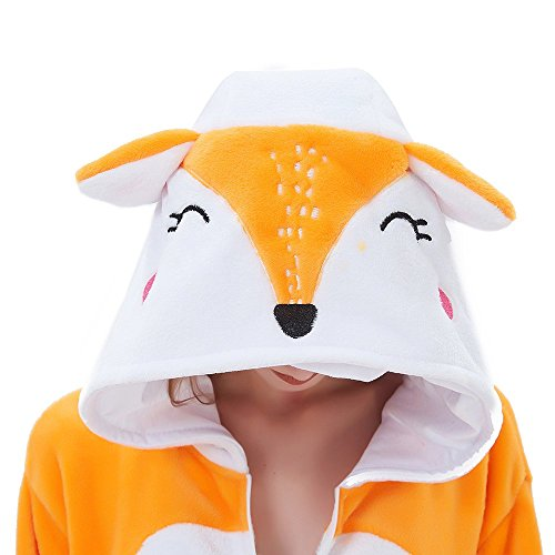 ABENCA Kids Fleece Onesie Pajamas Christmas Halloween Anime Sleepwear,Fox,120