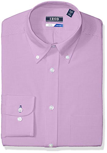 IZOD Men's Dress Shirts Regular Fit Stretch Gingham, Hyacinth, 18