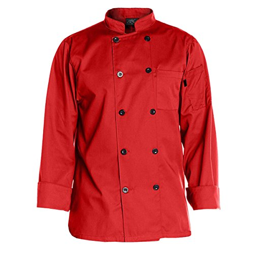 Chef Code Men's 10 Pearl Button Classic Chef Coat, Red, ()