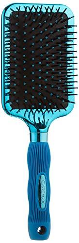 Caremax Blue Hair Brush with Long Silicon Handle, Straightening, Smoothing & Detangling Nylon Bristles Paddle Brush.