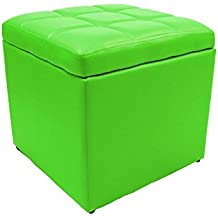 Magshion 2 Sizes-Unfold Leather Storage Ottoman Bench Footstool Cocktail Seat Coffee End Table (Square, Lime)