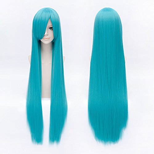 "Price comparison product image GOOACTION 39"" Long Straight Light Blue Synthetic Hair with Bang Wigs Hatsune Miku Anime Cosplay Costume Wig"