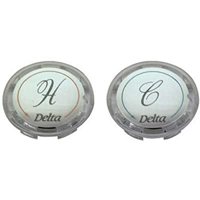 BrassCraft SHD0254 C Faucet Handle Buttons for Delta Faucet, Clear Acrylic, 2-Pack