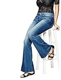 GUESS Factory Charlotte Petite Flare Jeans in Lace Blue Wash