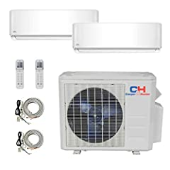 Year-Round Comfort.This powerful mini split AC is an air conditioner, heater and dehumidifier all in one. Highly efficient, incredibly quiet, made from the highest quality materials. This high SEER dual zonemini split will cover up to 1200...