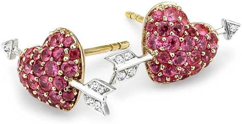 Boucles d'oreille - 7X24DPS - Pendientes de mujer de oro bicolor (9k) con diamantes y zafiros