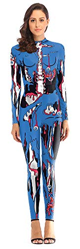 Sister Amy Women's Halloween Adult Horror Role-Playing Jumpsuit Costume Blue Small/Medium -