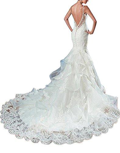 Bretelles Perles Dressylady Robe De Mariée Sirène Dentelle Dos Nu Appliqué Blanc