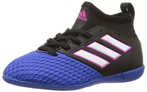 adidas Performance Kids' Ace 16.3 J Indoor Soccer Cleat, Black/White/Blue, 11 M US Little Kid